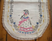Vintage Southern Bell Embroidered Doily - Dresser Scarf