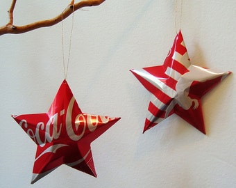 Olympic Female Gymnast Coke Stars Christmas Ornaments  Soda Can Upcycled Coca Cola