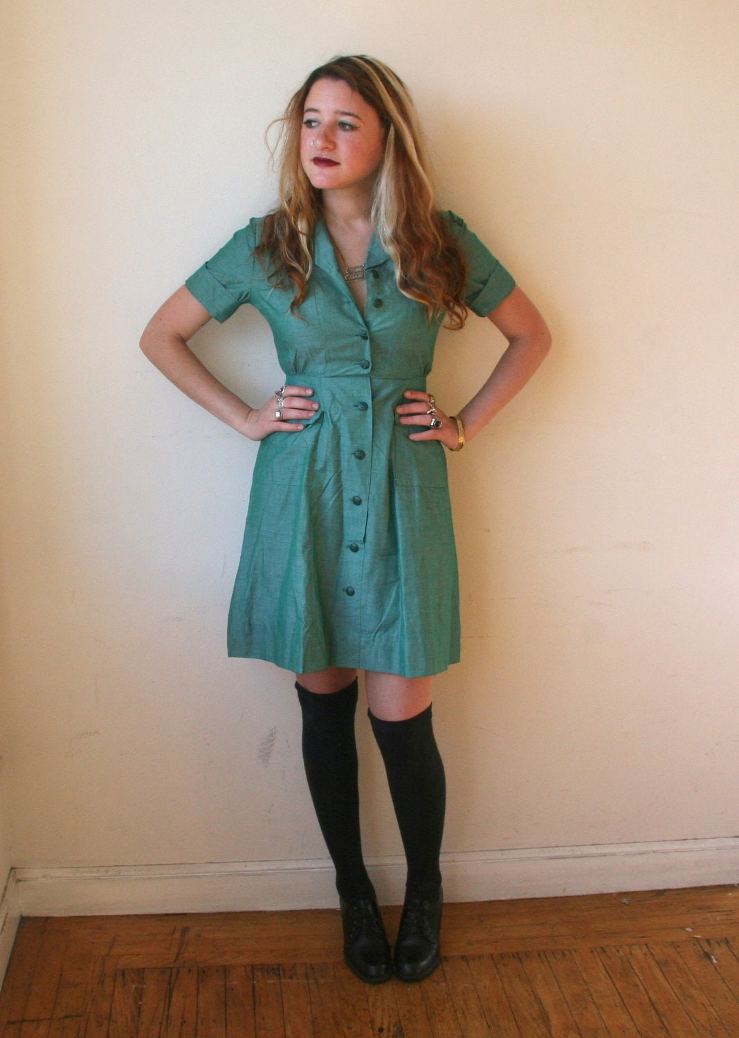 50s girl scout button up dress sz xs