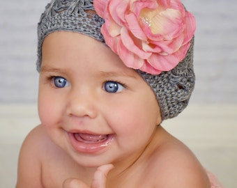 Beautiful Grey Beanie Hat with Detachable Shabby Chic Flower With Rhinestone Center-- Choose your Size- Photo Prop-- Everyday Wear-