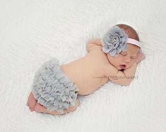 Baby Girl Set- Baby Girl Ruffle Bum BLOOMER and HEADBAND Set- Ruffle Bloomer, Baby Girl Headband, Newborn Bloomer, Girl bloomer, Baby set