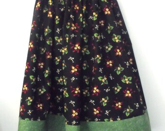SALE! Girl's skirt, modest, gorgeous Christmas print with green band at the bottom