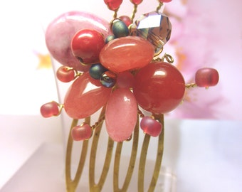 LOVE -- Pale Magenta and Red Jasper Crystal Coral Glass Seed Beads Tiny Antique Bronze HAIR COMB