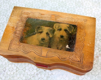 Vintage Handcrafted Wooden Box With Two Dogs and a Pinup Majorette or Drum Major