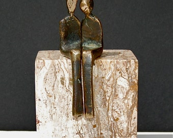 BY YOUR SIDE >> Petite bronze sculpture of romantic lovers.  Perfect anniversary gift!