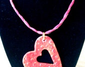 Polymer Clay Heart Shaped Textured Pendant With Gold Accents on Ribbon and Wire Necklace