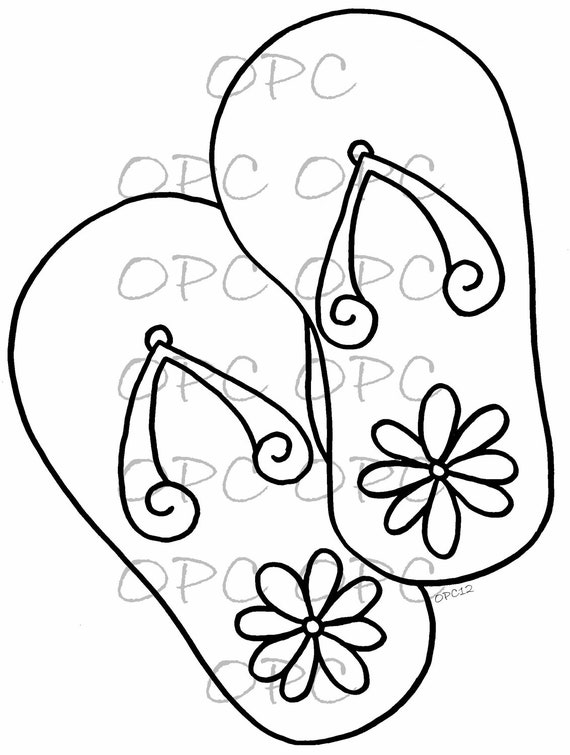 digital stamp daisy flip flops by oakpondcreations on etsy