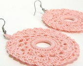 Circle Earrings Pink Lace Doily Crochet Jewelry Peach Apricot Large Round Dangles Pastel Fashion Accessory Handmade by Lilena