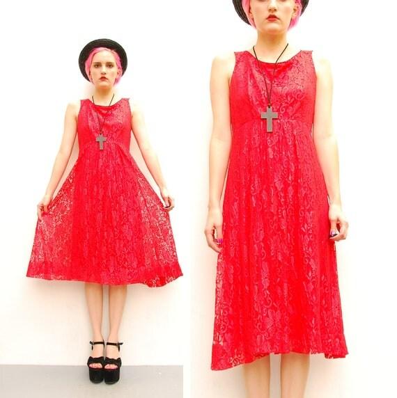 70s Coral Lace Dress - Romantic Sheer Floral Lace Dress - 1970s Babydoll Dress - Empire Waist Party Dress - Summer Dress - S M 4 6 8