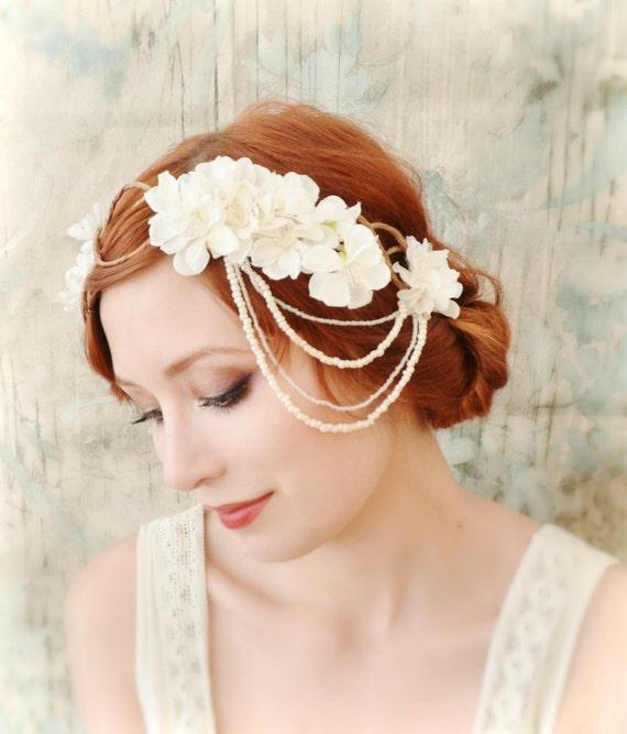 Ivory bridal headpiece, flapper flower crown, boho headdress, wedding hair accessory