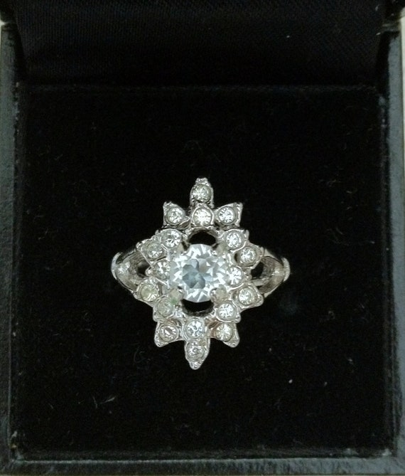 Sale... Stunning Engagement Style by Uncas White Rhinestone/Topaz Ring