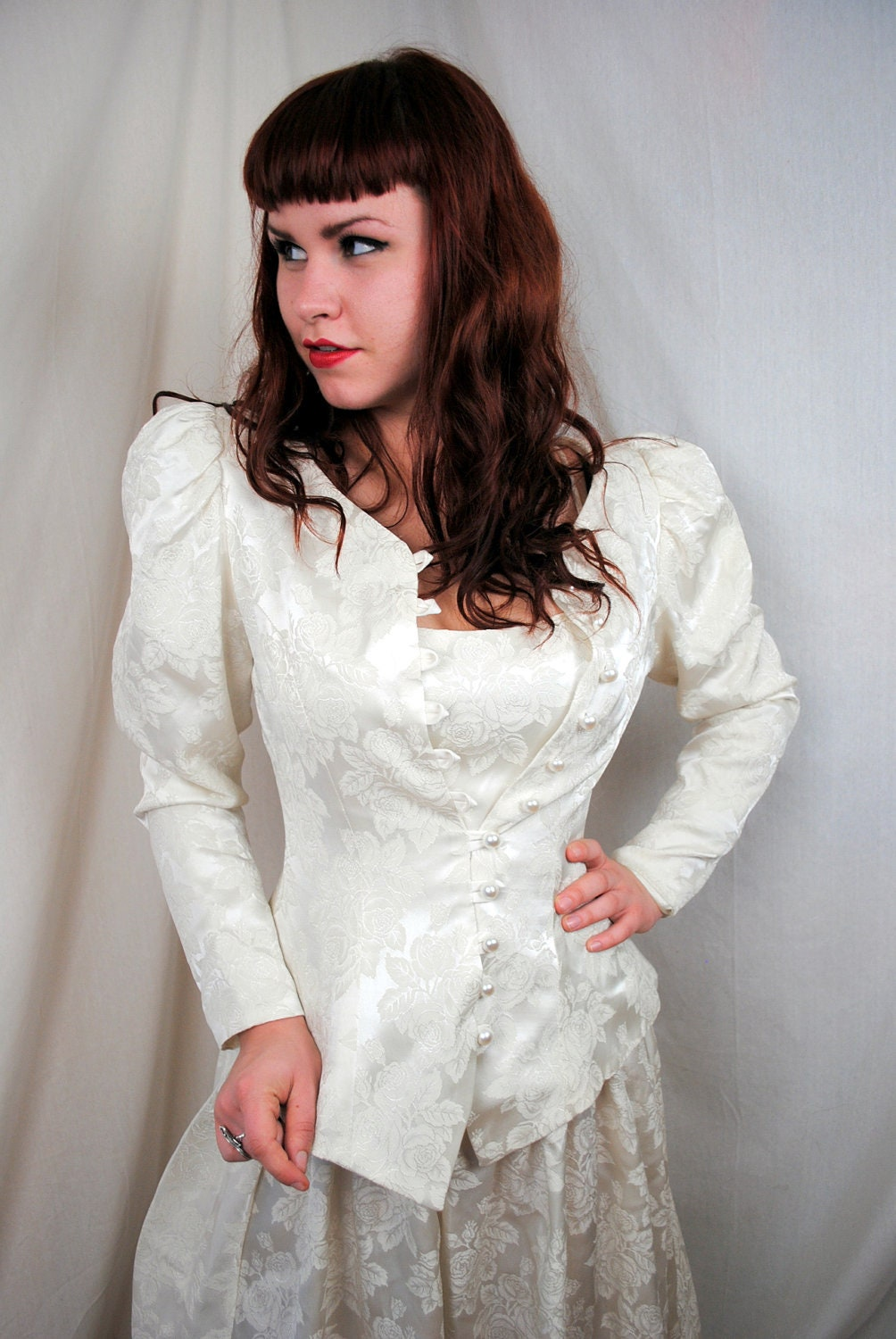 Vintage 80s steampunk loralie wedding dress and matching for Wedding dress steaming near me