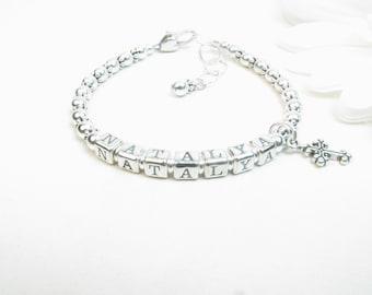 Baby Bracelet // Baby Girl Bracelet // Silver Baby Bracelet // Baby Name Bracelet // Baptism Bracelet // Christening Bracelet