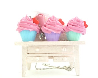 The Bakers Necklace sweet pink frosting Cupcake necklace with pink Pastry Bag charm great as tea party necklace