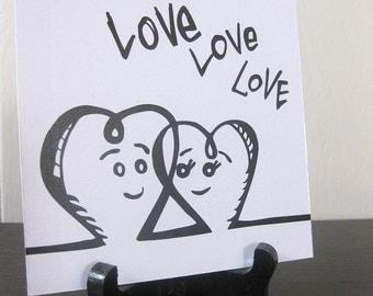 Love Love Love / Daily Peety Print (Black and White, 5 x 5)
