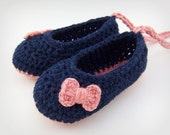 Navy and Pink Baby Girl Shoes - newborn booties, newborn booties, baby girls, baby shower gift, pink and blue baby girl shoes