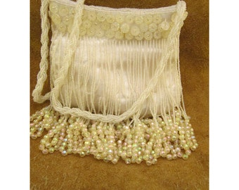 White on White Beaded Vintage Evening Bag with Beaded Fringe and Braid Strap by Walborg