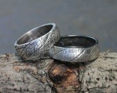Set of silver wedding rings: Gentleman Leaf