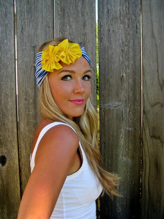 Nautical Jersey Knit Headband with Jersey Fabric Flowers