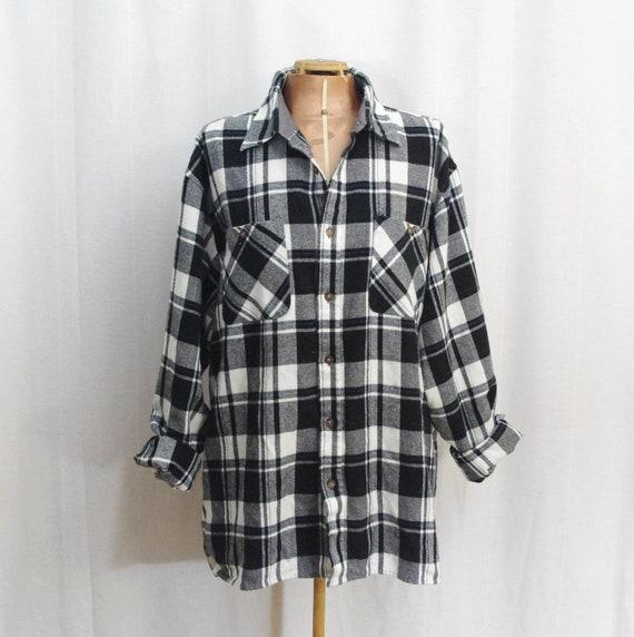 Vintage Black White Plaid Flannel Shirt Men 39 S Large By