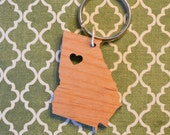 Atlanta, Georgia Love Wood Key Ring