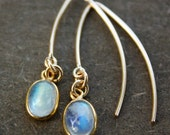 Gold Moonstone Earrings - Rainbow Moonstone - Hook Earrings, 14K GF