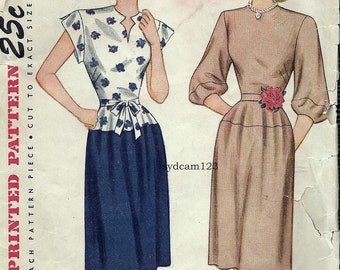 Vintage 1945 Daydress Shaped Keyhole Neckline...Cap or Bell Sleeves...Simplicity 1605 Bust 32