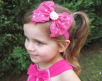 Hot Pink Hair Bow - Hot Pink Lace Hair Bow w/ Pearls Stretchy Headband or Hair Clip, The Sophia, Baby Toddler Child Girls Headband