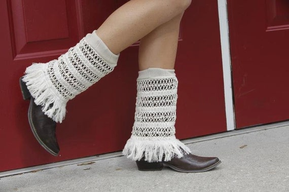 OOAK Cowgirl Fringe Boot Covers Leg Warmers Dream Sleeves