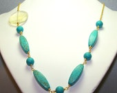 Turquoise Gold Necklace. Quartz bead linked necklace. OOAK. Inventory Clearance Sale.
