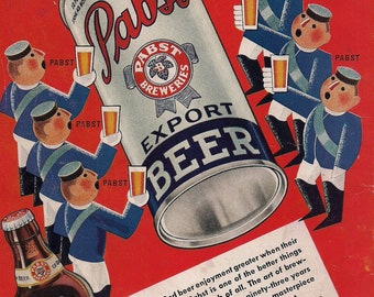 Poster - Pabst Blue Ribbon ad - Hipster heaven - retro style -  poster size and prints -1930s - PBR - 3 sizes to choose