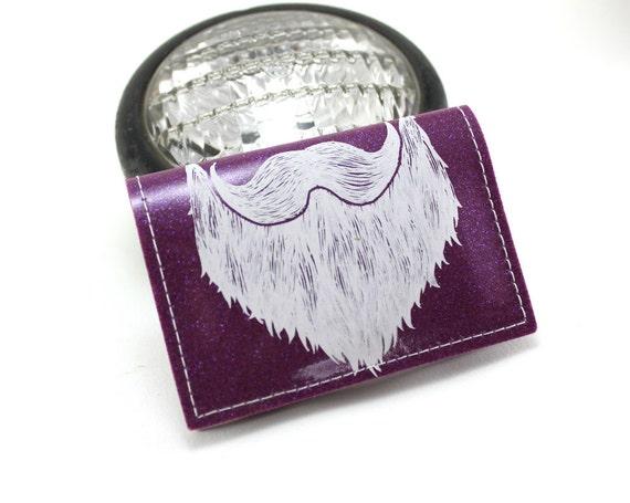 ON SALE - Weird Beard Mini Wallet - Purple Metal Flake - Keep on doin it dude