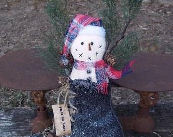 Primitive Snowman Doll in Ice Skate Hanger Snowmen Door Doll or Prop-Up Display Centerpiece by Lisa's Attic Art Treasures