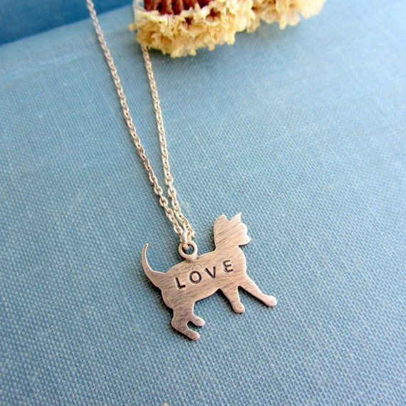Sterling silver cat necklace, Animal pet jewelry, love necklace, custom jewelry, personalized jewelry