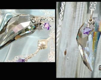 Swarovski Crystal Wing Necklace, Sterling Silver Necklace, Crystal Wing Pendant,  LONG Necklace, Celestial, Ethereal, Winter Fashion - SOAR