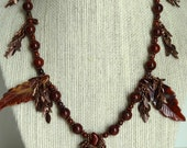 Handmade Jasper Carved Leaf  Necklace Antique Copper Leaves Red Beaded Stone Necklace Genuine Gemstone Statement Necklace Fall Leaves