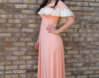 1960s maxi dress, off shoulder ruffle, peach cream, lace ruffle, boho dress, long dress, Size M
