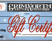 50 dollar Grim North Tattoo and Piercing Gift Certificate