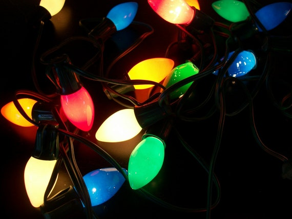 Retro Christmas String Lights : Vintage String of 20 Multi Color Christmas Lights by AtomicPutz