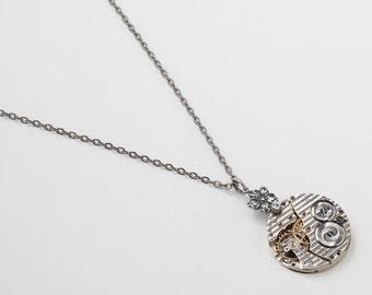 Steampunk Necklace vintage Hamilton pinstripe Pocket watch movement gears silver flower crystal pendant Statement Necklace Steampunk Jewelry