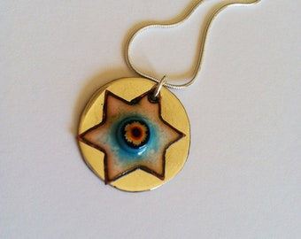 Enameled Star of David from Israel - Blue and White with Alpaca