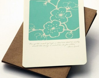 The Secret Notecards in Aqua and Cream -Set of 6 flat Notecards and Kraft Envelopes