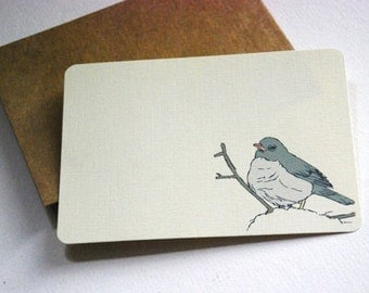 The Little Junco Notecards in Cream and Gray -Set of 6 flat Notecards and Kraft Envelopes
