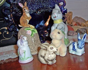 Easter Bunnies, Lot of 6 Vintage Bunny Rabbit Figurines, Hallmark, Enesco, Towle