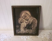 vintage Mater Mea by Mother Nealis. Mary and Jesus wood framed religious art print, rare image, Madonna and Child, Catholic decor