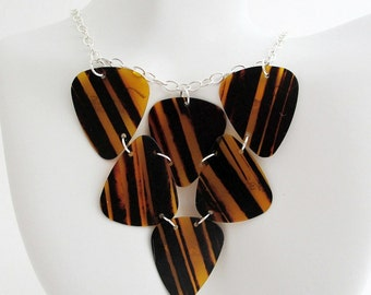 Guitar Pick Necklace Striped Tortoiseshell Triangle