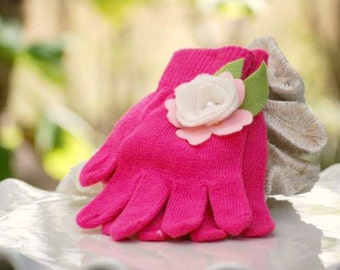 Fuschia Knitted Gloves Pink Flower Lime Green Leaves Ivory Pearl. Warm Hands, Bright Happy Fun Colorful Birthday, Toddler Preteen Girly Gift