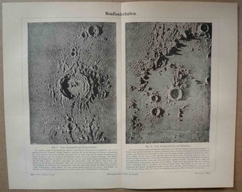 1894 ANTIQUE MOON SURFACE lithograph - original antique celestial astronomy print double page