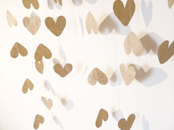 Recycled Brown Paper Heart Garland - Valentine's Day Decoration / First Anniversary Gift / Photo Booth Prop / Wedding Decor (8.7 feet)