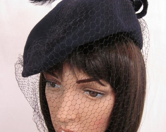 1940s Navy Wool Hat with Feathers and Netting